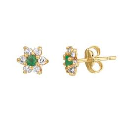 Geelgouden Diamanten Rozet Oorknoppen met Groene Smaragd