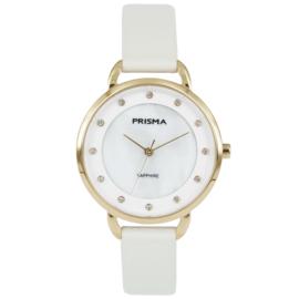 Basic Goudkleurig Dames Horloge van Prisma met Witte Band