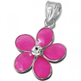 Roze bloem met zirkonia hanger / Zilver IB15156