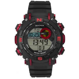Sekonda Zwart Heren Horloge met Rode Elementen