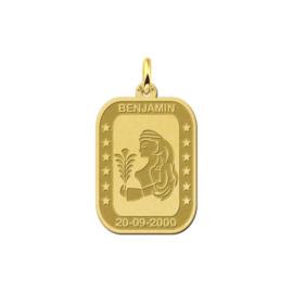 Rechthoekige Maagd Sterrenbeeld Hanger van Goud