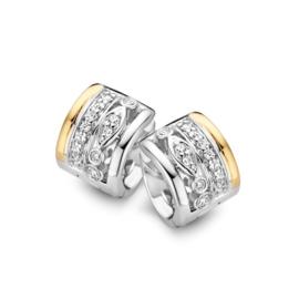 Excellent Jewelry Brede Creolen van Zilver met Geelgoud en Zirkonia's