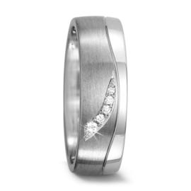 Matte met Gepolijste Zilveren Trouwring met Diamanten voor Dames