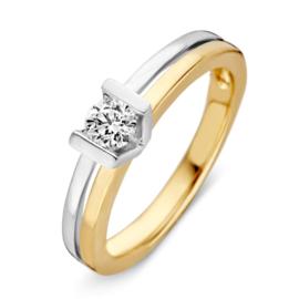 Excellent Jewelry Bicolor Briljant 0.30 crt Ring 4,5mm met Briljant in V-vorm