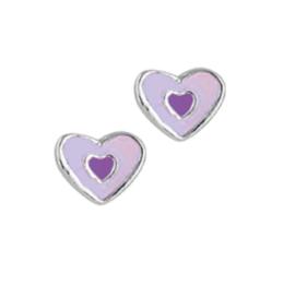 Paars met Donkerpaarse Hart Oorknoppen van Zilver