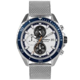 Prisma Modern Zilverkleurig Heren Horloge met Blauwe Rand