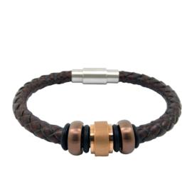 DISX Bruin Leren Armband met Bedels voor Mannen