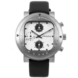 Prisma Zilverkleurig Heren Horloge met Lederen Horlogeband