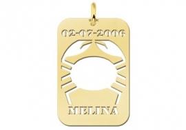 Names4ever Kreeft Horoscoop Hanger in Goud GHS040
