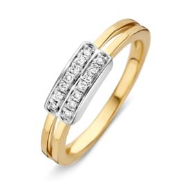Excellent Jewelry Geelgouden Ring met Opengewerkte Lijn en Diamanten