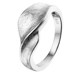 Kronkelend Kopstuk Ring van Zilver / Maat 18,5