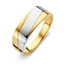 Excellent Jewelry Geelgouden Dames Ring met Diagonale Witgouden Strook