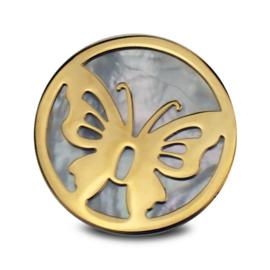 LOCKits Goudkleurige Vlinder Munt met Parelmoer 33mm