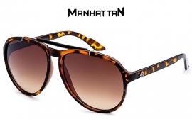 Manhattan Bruin Gevlekt Frame Smalle Zonnebril