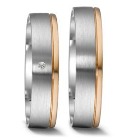 Matte Zilveren met Gepolijste Roségouden Trouwringen Set met Diamant