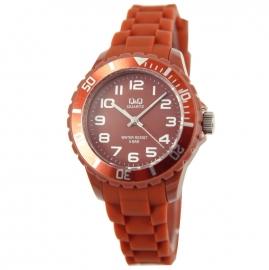 Q&Q Horloge met een horlogeband van oranje rubber