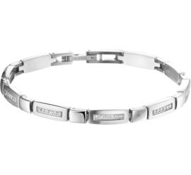 Edelstalen Armband met Langwerpige Zirkonia Schakels