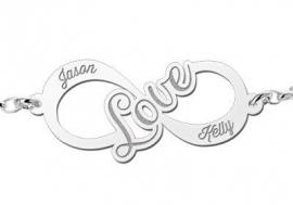 Names4ever Love Infinity Armband van Zilver - Graveer Sieraad