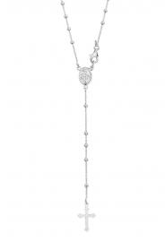 Zilveren Collier met Rozenkrans en Kruis Hanger
