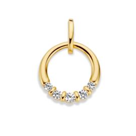 Excellent Jewelry Geelgouden Hanger met Vijf Zirkonia's