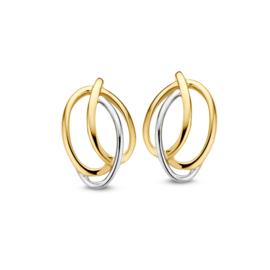 Excellent Jewelry Fantasievolle Twirl Oorstekers van Geelgoud met Witgoud