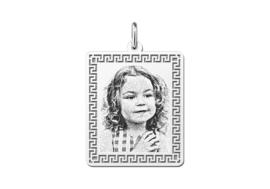 Kleine Rechthoekige Zilveren Fotogravure Hanger van Names4ever