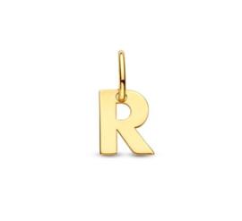 Letter R Hanger in massief 14 Karaat Goud