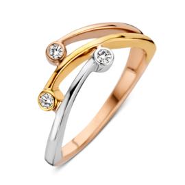 Excellent Jewelry Slanke Tricolor Ring met Zirkonia's