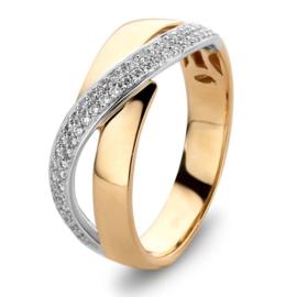 Excellent Jewelry Bicolor Ring met Overlappende Witgouden Strook