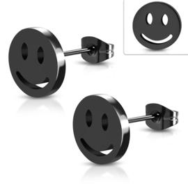 Zwarte Edelstalen Smiley Oorstekers