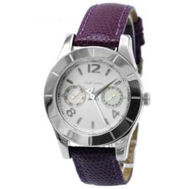 Prisma Rond Dames Horloge met Paarse Lederen Horlogeband