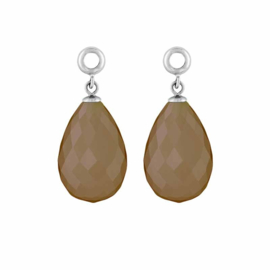 Creoli Hangers met Cat's Eye Light Brown Facetgeslepen Glasbedel