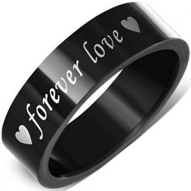 Zwarte Graveer Ring - forever love SKU83604