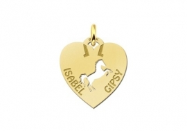 Names4ever Paard Naamhanger Hart in Goud GNDH018