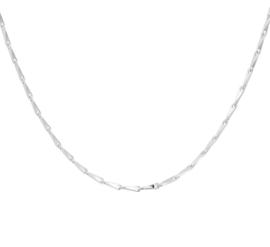 Zilveren Collier met Gedraaide Slanke Schakels