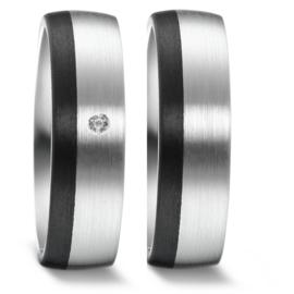 Brede Zilveren Trouwringen Set met Zwarte Carbon Rand en Diamant
