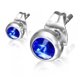 Ronde zirkonia-setting oorstekers / Sapphire blauw