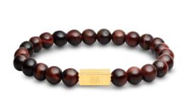 Essential Gold   Rode Tijgeroog Kralen Armband van Blaauw Bloed