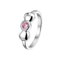 Ring voor Kinderen met Bolle Strik en Roze Zirkonia / Maat 12,5