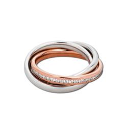 Speelse Bicolor Ring met Kleurloze Zirkonia's van M&M