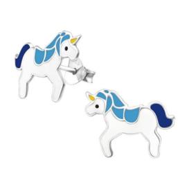 Zilveren Kinderoorbellen Unicorn met Blauwe Manen