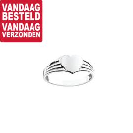 Vlakke Zilveren Ring met Hart Kopstuk / maat 13