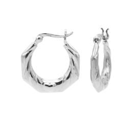 Zilveren Zeshoekige Oorringen   Karma Jewelry