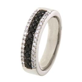 Excellent Jewelry Vlakke Witgouden Strook met Kleurloze en Zwarte Diamanten