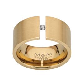 Brede Goudkleurige Ring van Edelstaal met Zirkonia van M&M