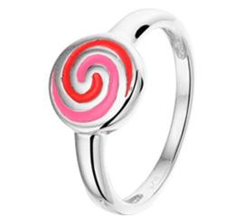 Zilveren Ring voor Kinderen met Gekleurde Spiraal