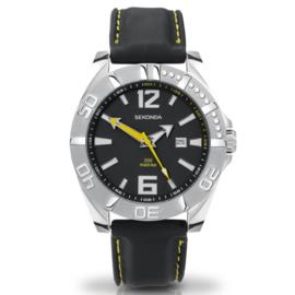 Zilverkleurig Heren Horloge met Zwart Rubberen Horlogeband en Gele Details