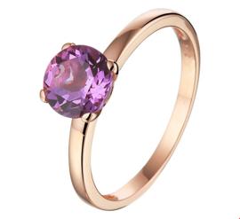 Roségouden Ring met Paarse Amethist Edelsteen