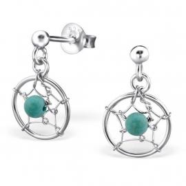 Zilveren Droomvanger Oorbellen met Turquoise Kraaltje