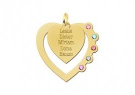 Gouden Hart met Hart Hanger + Geboortestenen en Graveer Namen Names4ever